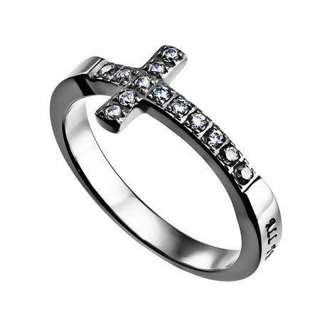 All Things Through Christ Sideways Cross Ring