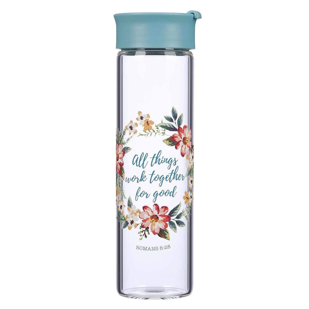 All Things Work Together For Good Glass Water Bottle - Romans 8:28