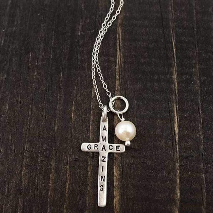 Amazing Grace Sterling Silver Cross Necklace
