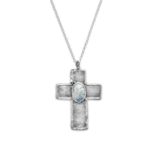 Ancient Roman Glass Cross Necklace