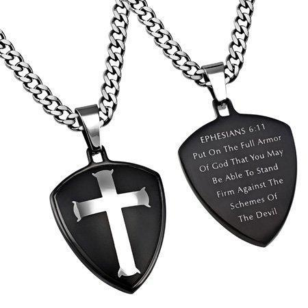 Armor Of God Black R2 Shield Cross Necklace
