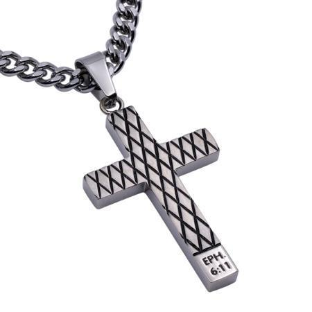 Armor Of God Diamond Back Cross Necklace