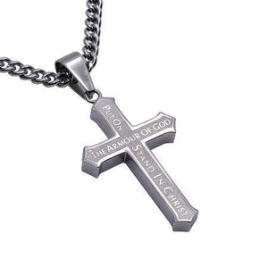 Men's Inlay Cross Necklace Armor Of God - Atrio Hill