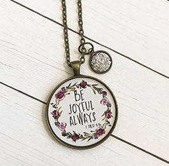 Be Joyful Always Bible Verse Pendant Necklace