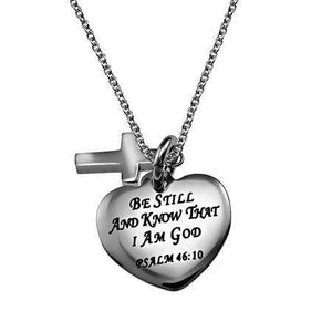Be Still And Know Sweetheart Cross Necklace