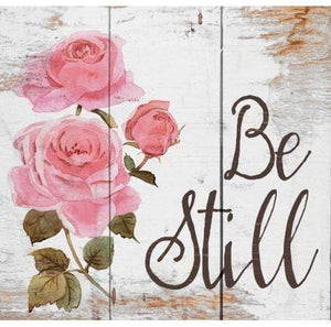 Be Still Floral Wood Plaque