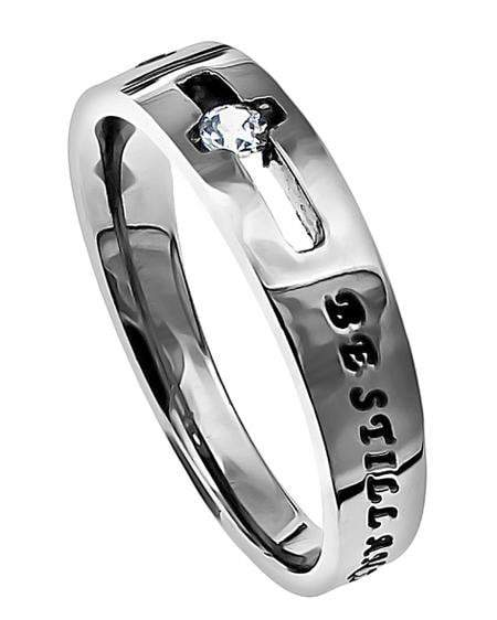 Be Still Solitaire Cross Ring