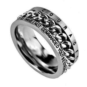 Be Strong And Courageous Chain Ring