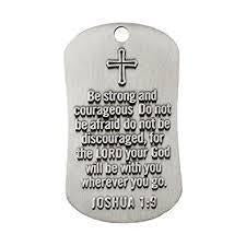Be Strong And Courageous Dog Tag Necklace