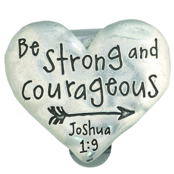 Be Strong And Courageous Heart Visor Clip