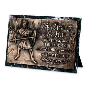 Be Strong And Courageous Joshua 1:9 Sculpture Plaque