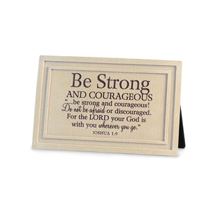 Be Strong Cast Stone Scripture Plaque - Atrio Hill