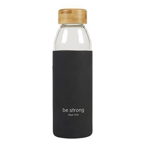 Be Strong Glass Water Bottle With Bamboo Lid