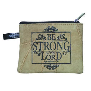 Be Strong In The Lord Leather Coin Purse - Atrio Hill