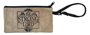 Be Strong In The Lord Leather Wristlet
