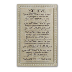 Believe Bible Verse Wall Plaque