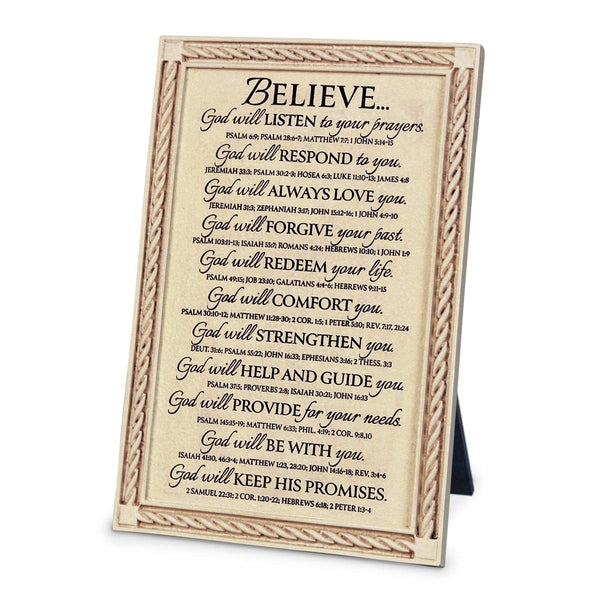 Believe Cast Stone Bible Verse Plaque