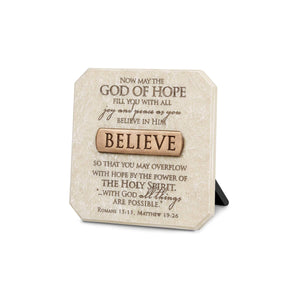 Believe Desktop Scripture Plaque