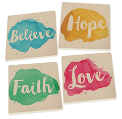 Believe Hope Faith Love Coaster Set