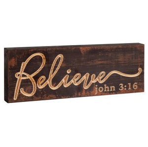 Believe John 3:16 Wood Plaque