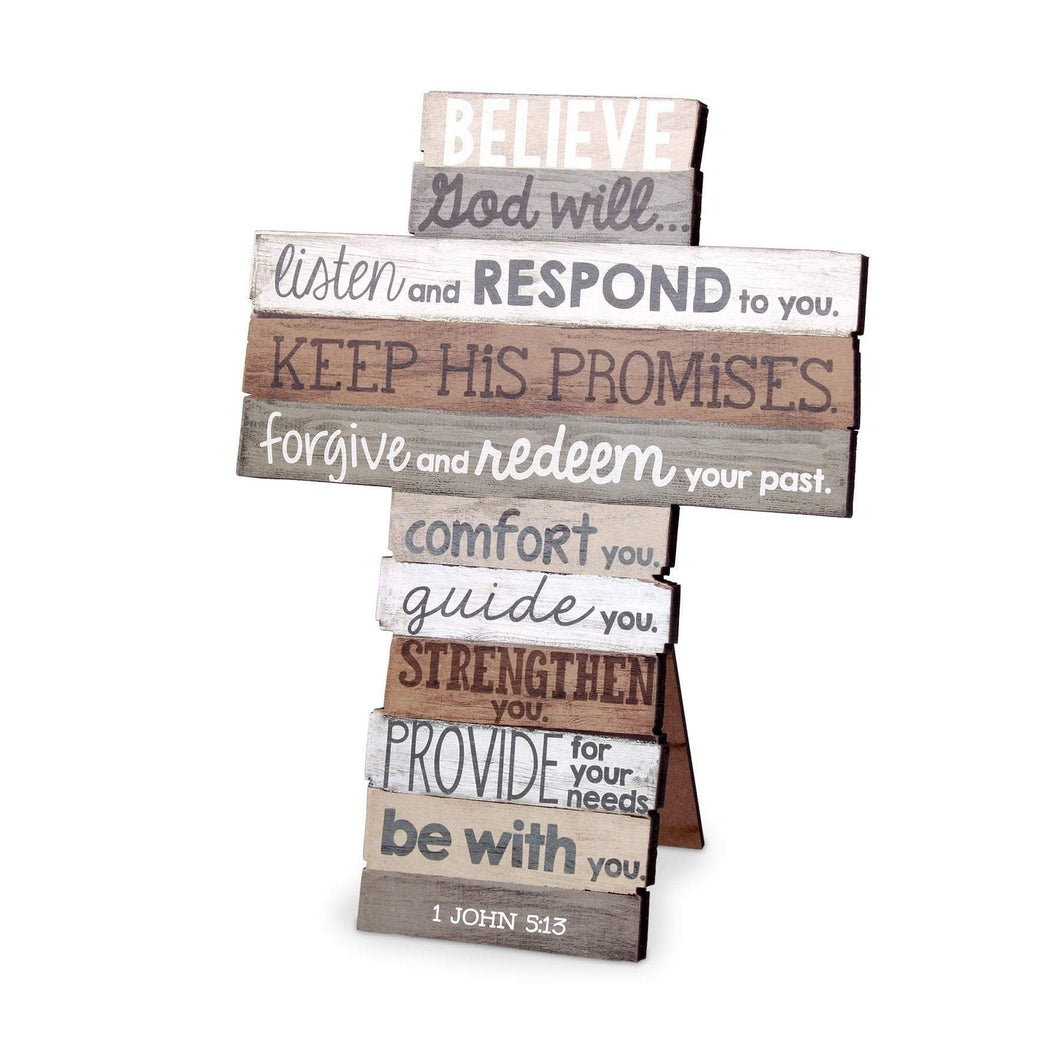 Believe Stacked Scripture Cross
