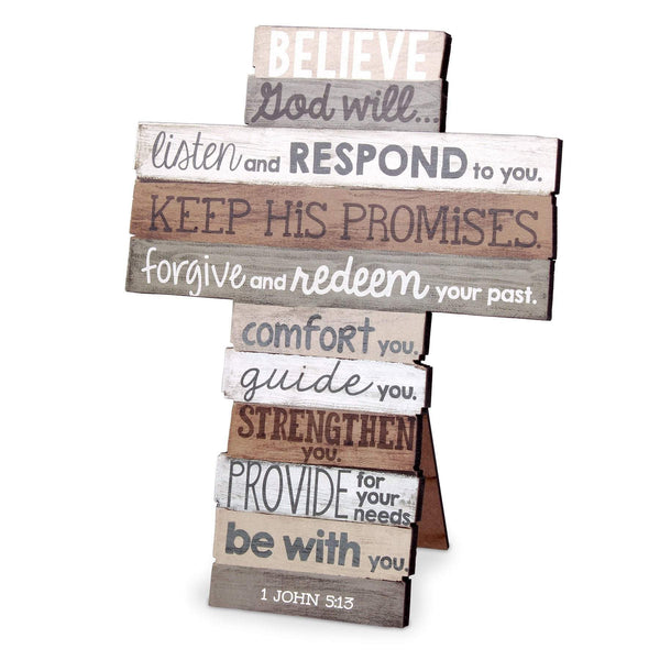 Believe Stacked Scripture Cross, Medium