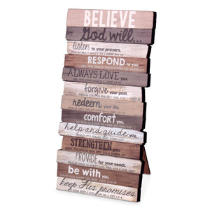 Believe Stacked Scripture Plaque