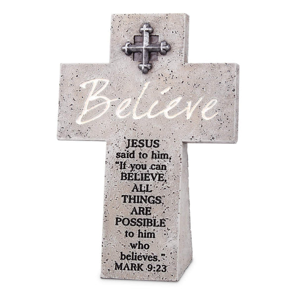 Believe Tabletop Cross With Scripture