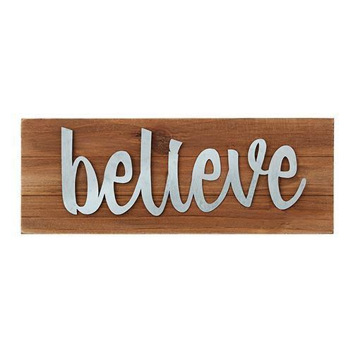 Believe Wood Tabletop Plaque