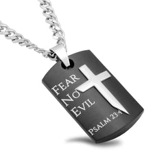 Black Guardian Shield Cross Necklace Fear No Evil