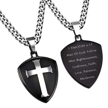 Black R2 Shield Cross Man Of God Necklace