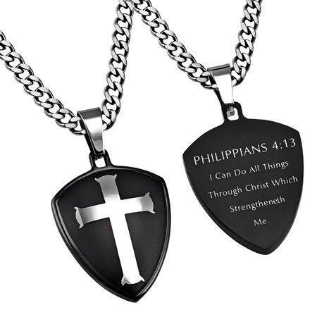 Black R2 Shield Cross Necklace Christ My Strength