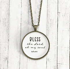Bless The Lord Scripture Pendant Necklace