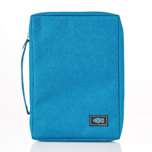 Teal Poly-Canvas Bible Cover With Fish Applique