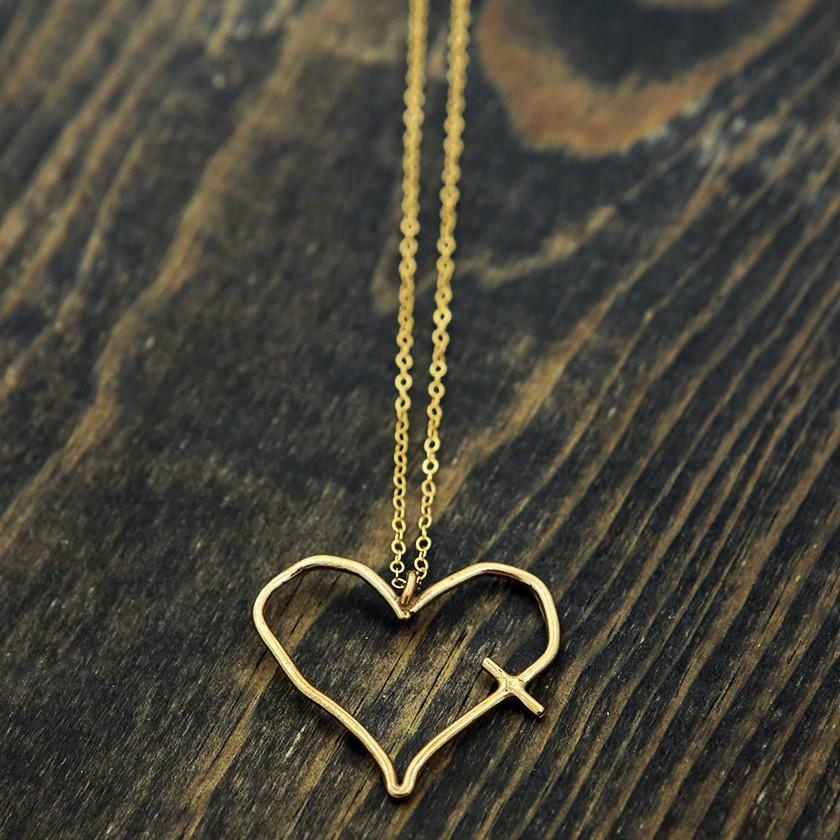 Bronze Heart Cross Necklace