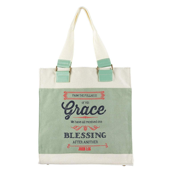 Canvas Retro Blessings, Grace John 1:16 Tote Bag