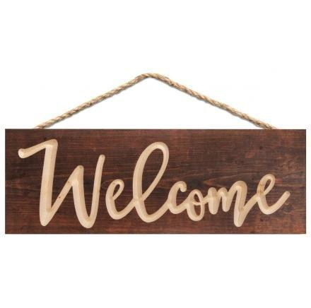 Carved Wood Welcome Sign Plaque