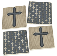 Ceramic Cross Coasters