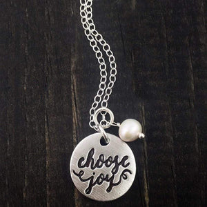 Choose Joy Calligraphy Necklace