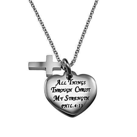 Christ My Strength Sweetheart Cross Necklace