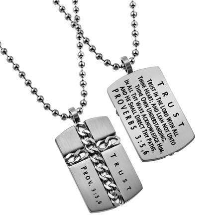 Christian Dog Tag Necklace Proverbs 3:5 Trust