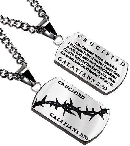 Crown Of Thorns Dog Tag Necklace Crucified