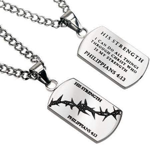 Crown Of Thorns Dog Tag Necklace His Strength