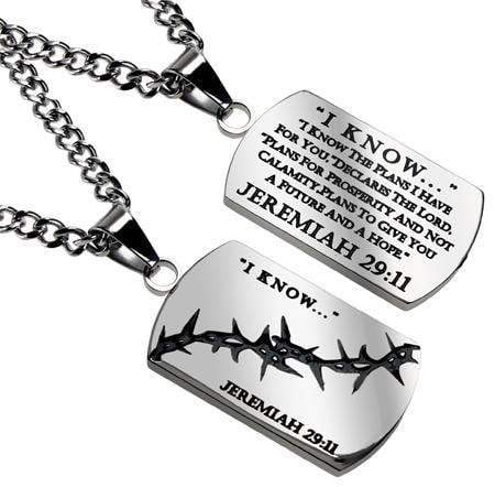 I Know The Plans Crown Of Thorns Dog Tag Necklace