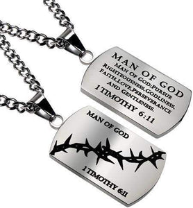 Crown Of Thorns Dog Tag Necklace Man Of God