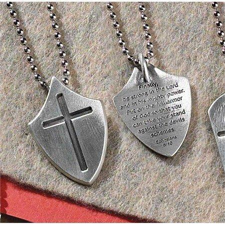 Dog Tag Shield Cross Necklace