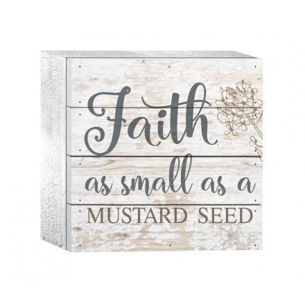 Faith As Small As A Mustard Seed Wood Plaque - Atrio Hill