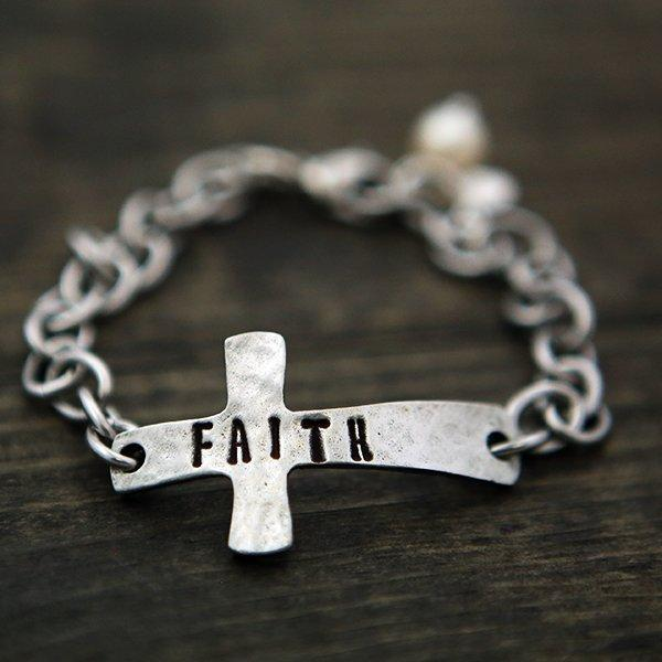Faith Cross Bracelet With Pearl