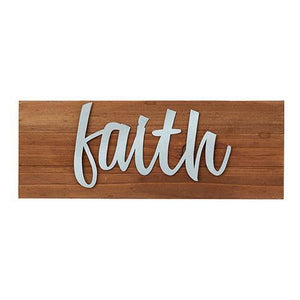 Faith Wood Tabletop Plaque