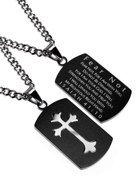 Fear Not Black Shield Cross Necklace